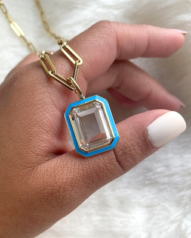 Goshwara Queen Emerald-Cut Crystal Pendant Necklace 2