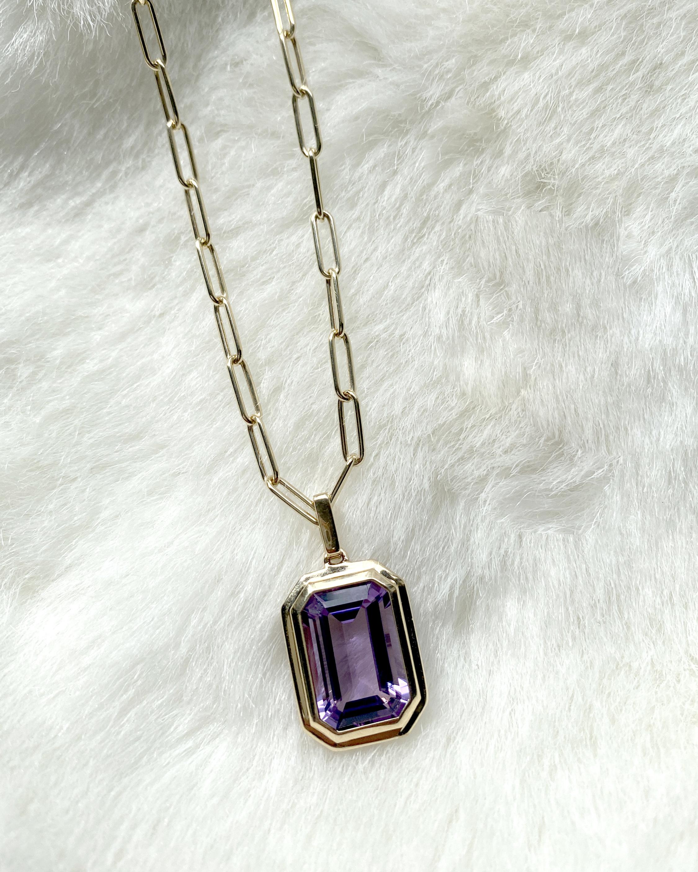 Goshwara Manhattan Emerald-Cut Amethyst Pendant Necklace 1