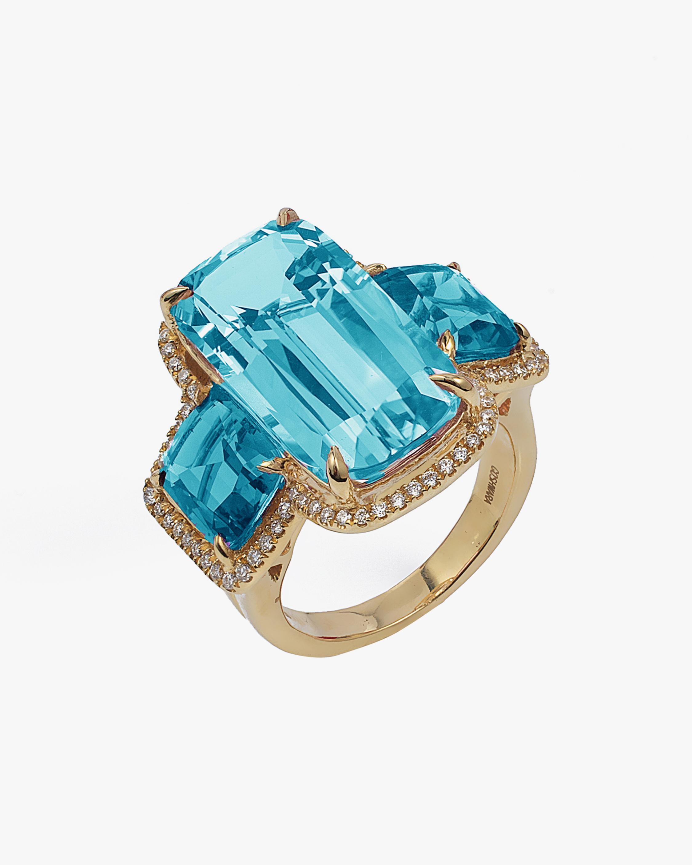Goshwara Gossip Blue Topaz Cushion Ring 1