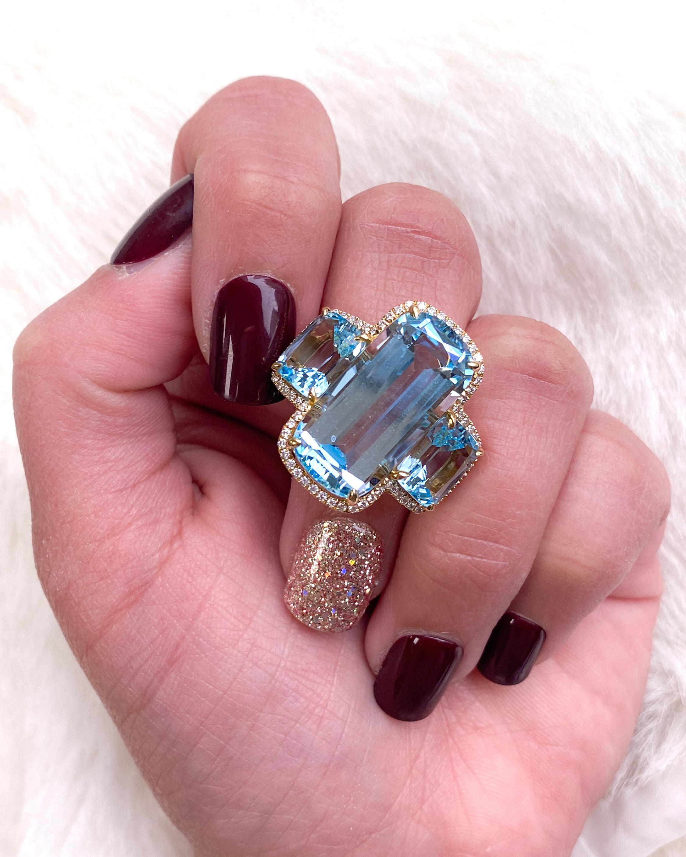 Goshwara Gossip Blue Topaz Cushion Ring 2