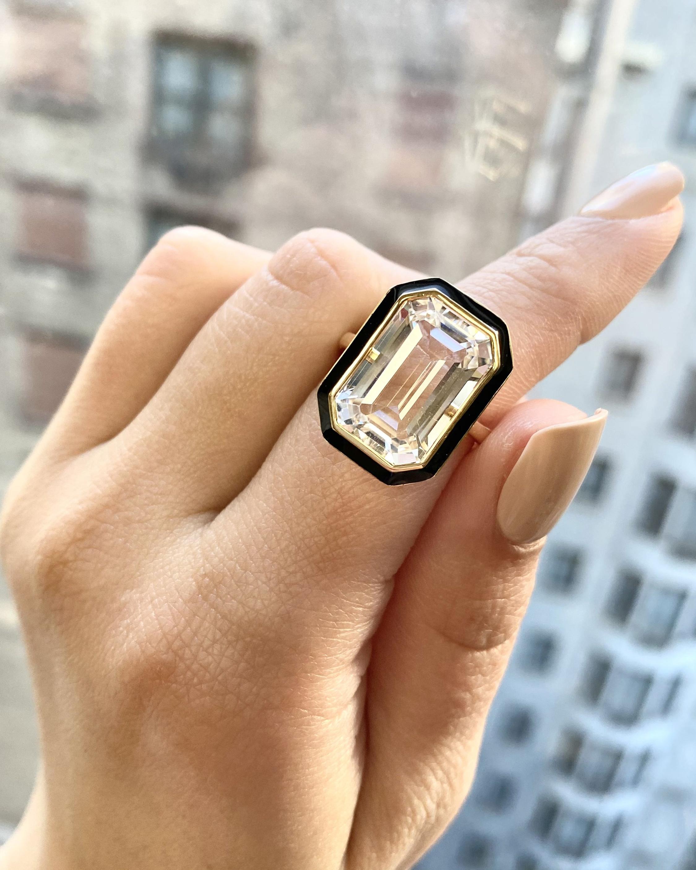 Goshwara Queen Emerald-Cut Crystal Ring 2