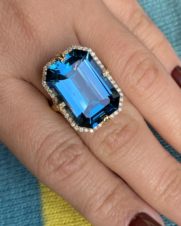 Goshwara Gossip Emerald-Cut Blue Topaz Ring 2