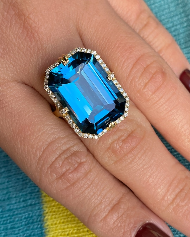 Goshwara Gossip Emerald-Cut Blue Topaz Ring 1