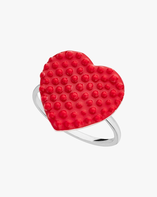 Gaya Red Lacquered Heart Ring 0