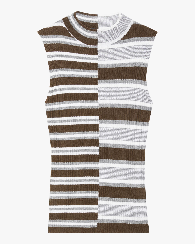 Theory Multi-Stripe Sleeveless Wool Sweater 1