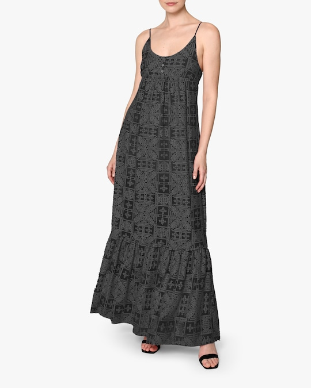 Nicole Miller Embroidered Silk Maxi Dress 0