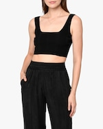 Nicole Miller Ribbed-Knit Bra Top 0