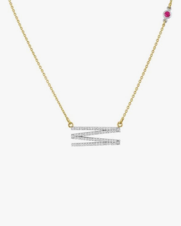 Elongated Diamond Initial Pendant Necklace