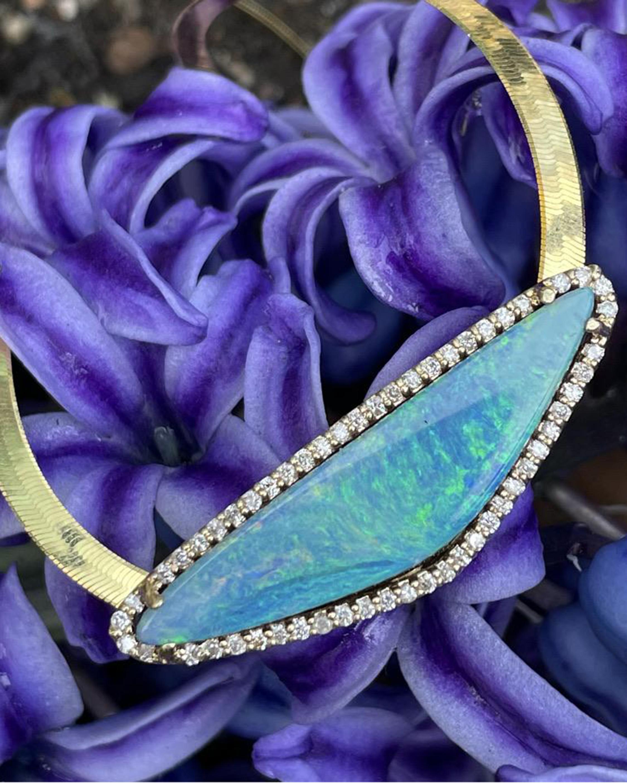 Eden Presley Boulder Opal Herringbone Pendant Necklace 2