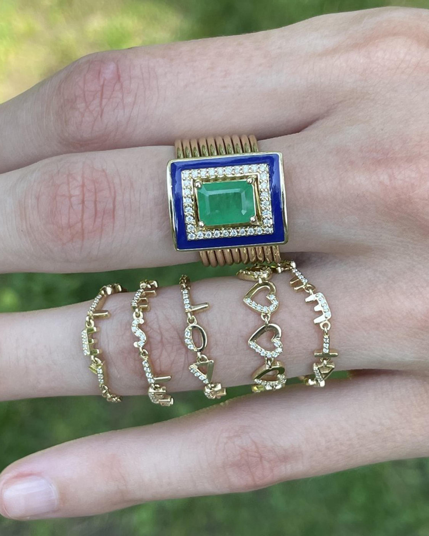 Eden Presley Emerald & Diamond Harem Ring 1