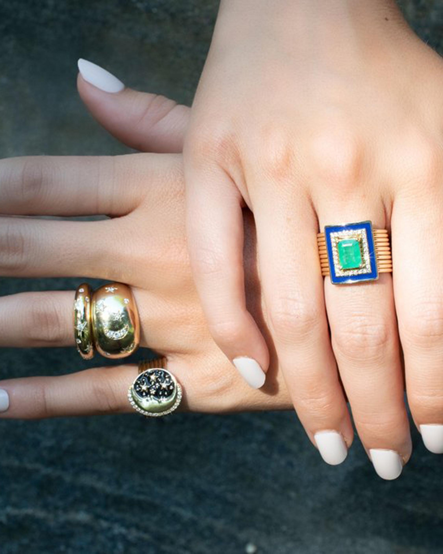 Eden Presley Emerald & Diamond Harem Ring 2