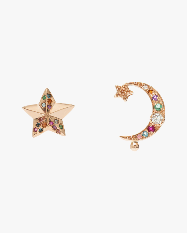 Gemstone & Diamond Star & Moon Earrings