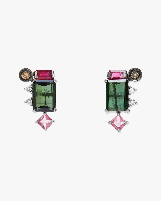 Carolina Neves Gemstone & Diamond Cluster Earrings 1