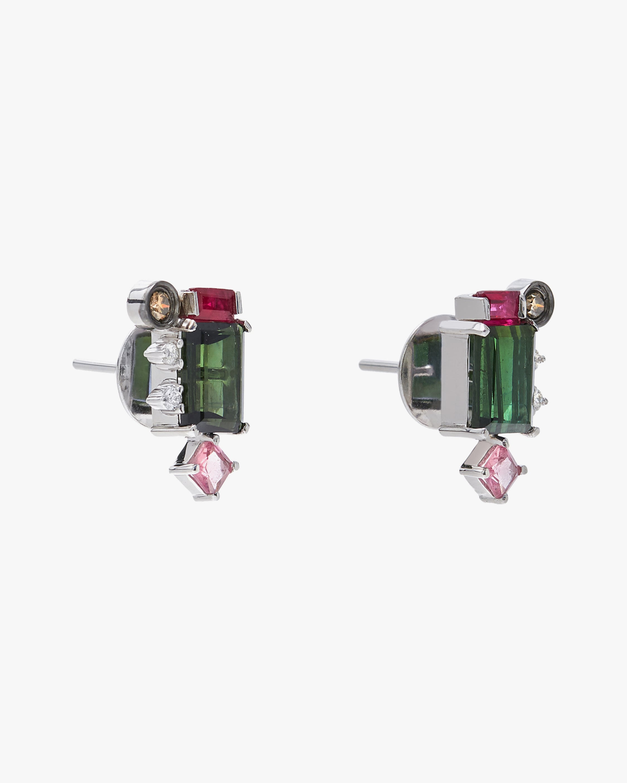 Carolina Neves Gemstone & Diamond Cluster Earrings 2