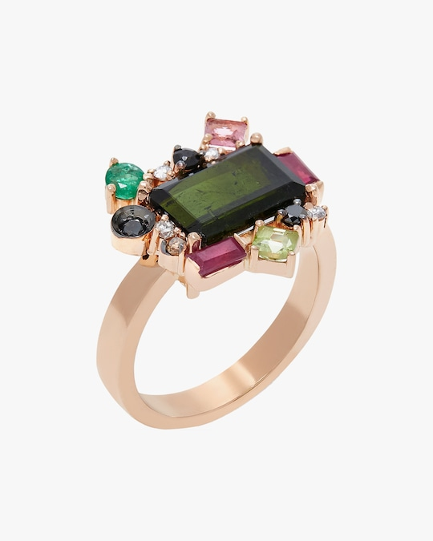 Carolina Neves Gemstone & Diamond Cluster Ring 0