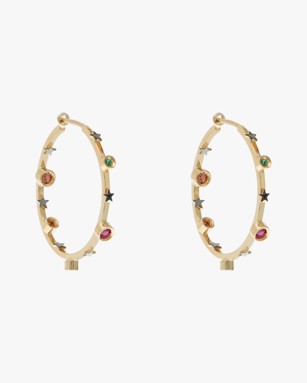Carolina Neves Gemstone Station Hoop Earrings 1
