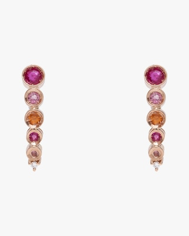 Carolina Neves Pink Gemstone & Diamond Cascade Earrings 1