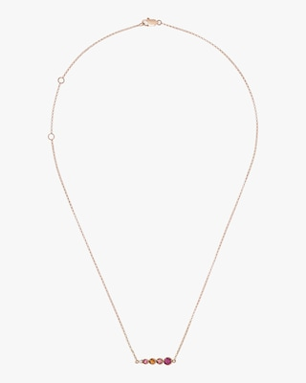 Carolina Neves Pink Gemstone & Diamond Cascade Bar Necklace 1