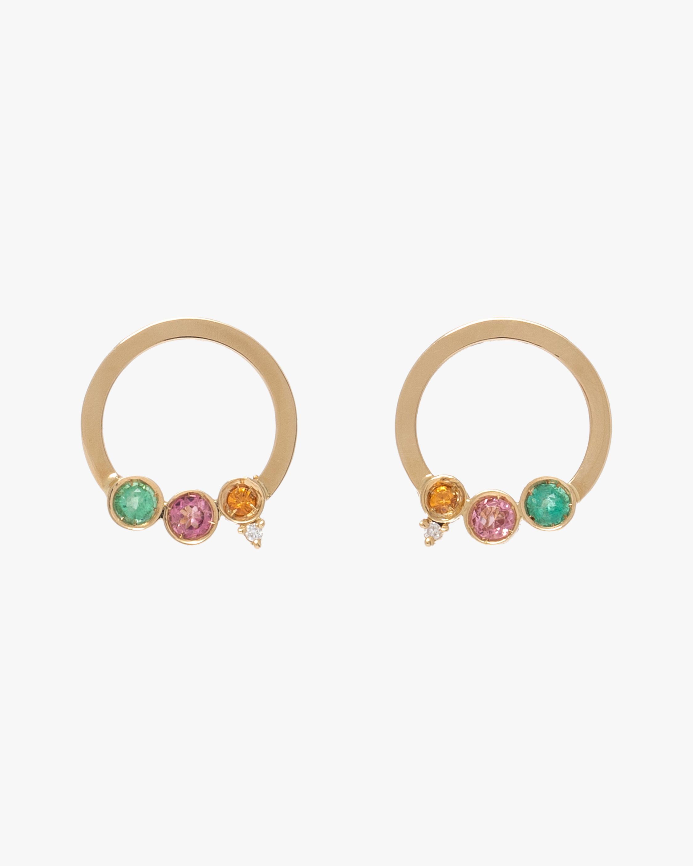 Carolina Neves Gemstone & Diamond Hoop Earrings 1
