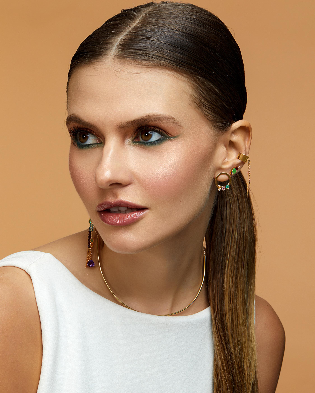 Carolina Neves Gemstone & Diamond Hoop Earrings 2