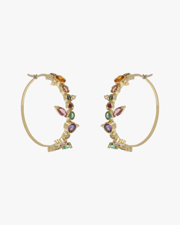 Carolina Neves Gemstone & Diamond Flying Hoop Earrings 1