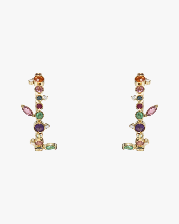 Carolina Neves Gemstone & Diamond Flying Hoop Earrings 2