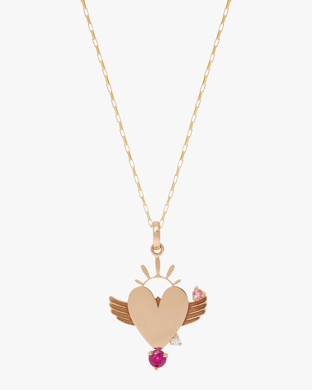 Carolina Neves Gemstone & Diamond Winged Heart Pendant 2