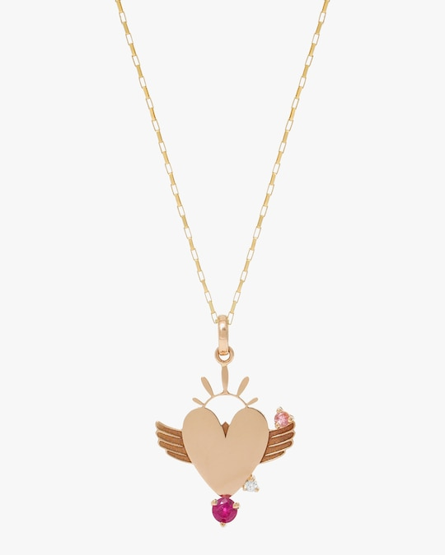 Carolina Neves Gemstone & Diamond Winged Heart Pendant 0