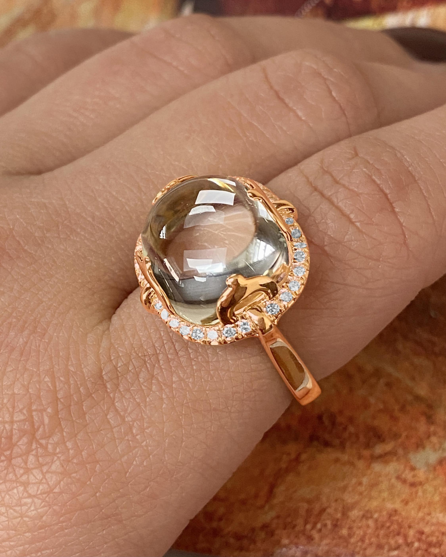 Goshwara Rock-n-Roll Rock Crystal & Diamond Ring 2