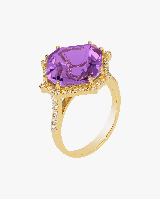 Goshwara Gossip Amethyst & Diamond Octagon Ring 1