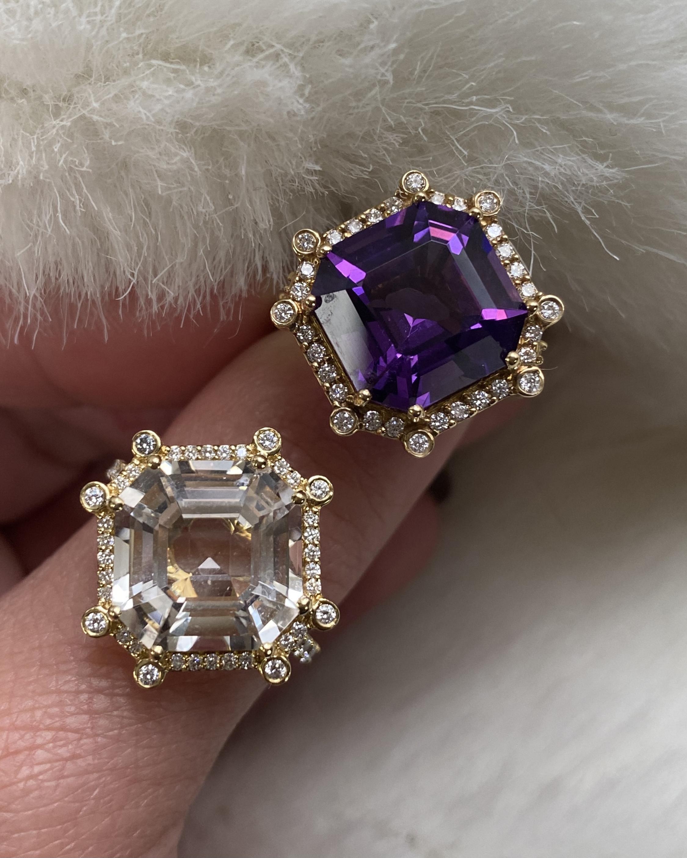 Goshwara Gossip Amethyst & Diamond Octagon Ring 2