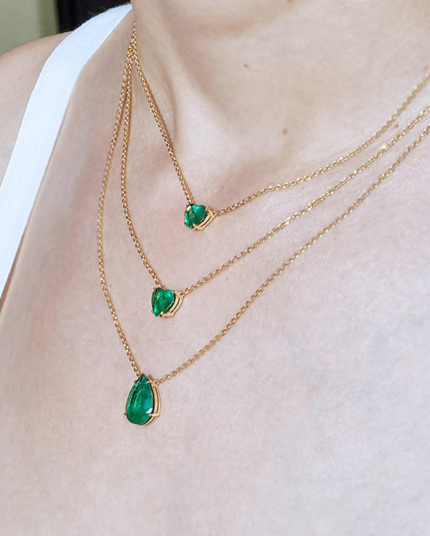 Chérut Heart-Shaped Emerald Pendant Necklace 3