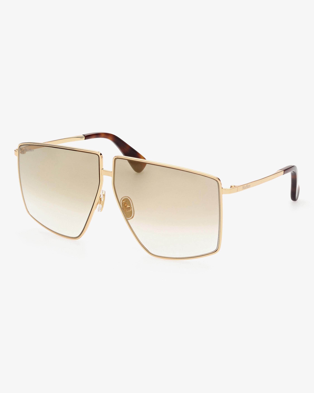 Max Mara Gold Geometric Sunglasses 0