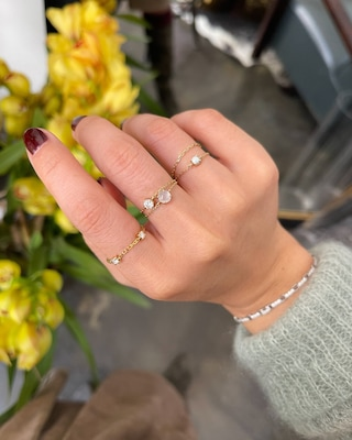 Yi Collection White Ice Jade Chain Ring 2