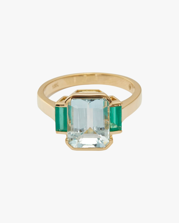 Yi Collection Aquamarine & Emerald Tonal Deco Ring 1