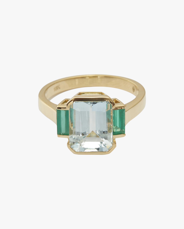 Yi Collection Aquamarine & Emerald Tonal Deco Ring 0