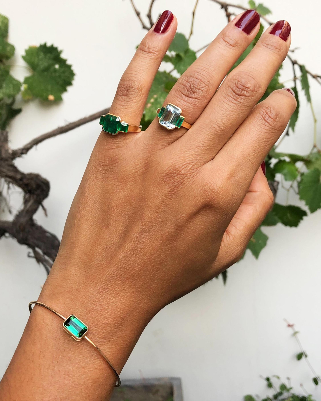 Yi Collection Aquamarine & Emerald Tonal Deco Ring 2