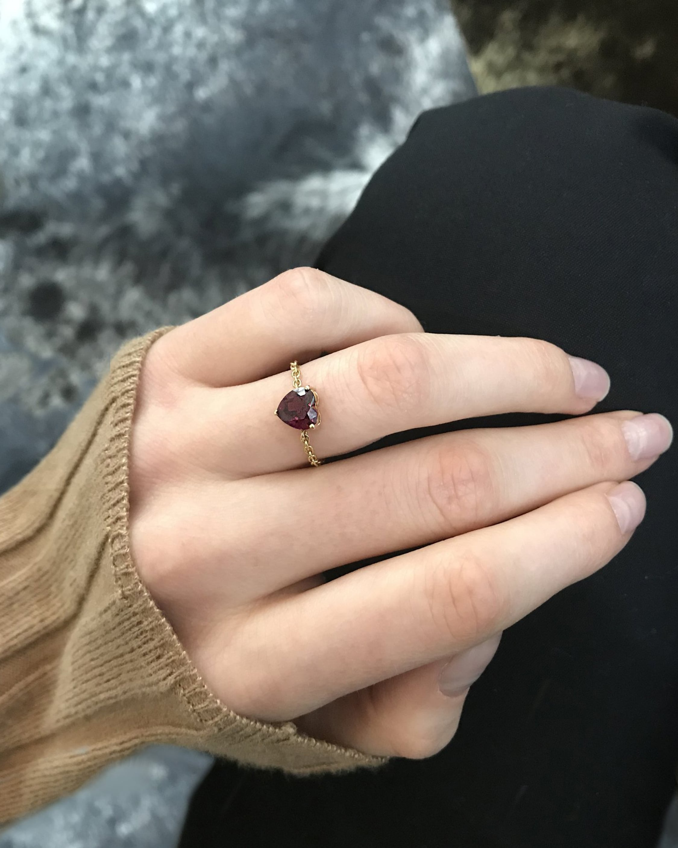 Yi Collection Rhodolite Heart Supreme Chain Ring 2