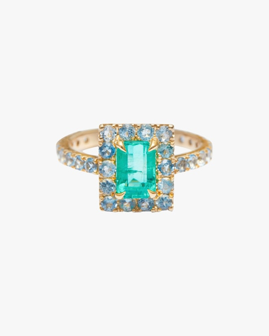 Yi Collection Emerald & Apatite Spring Ring 0