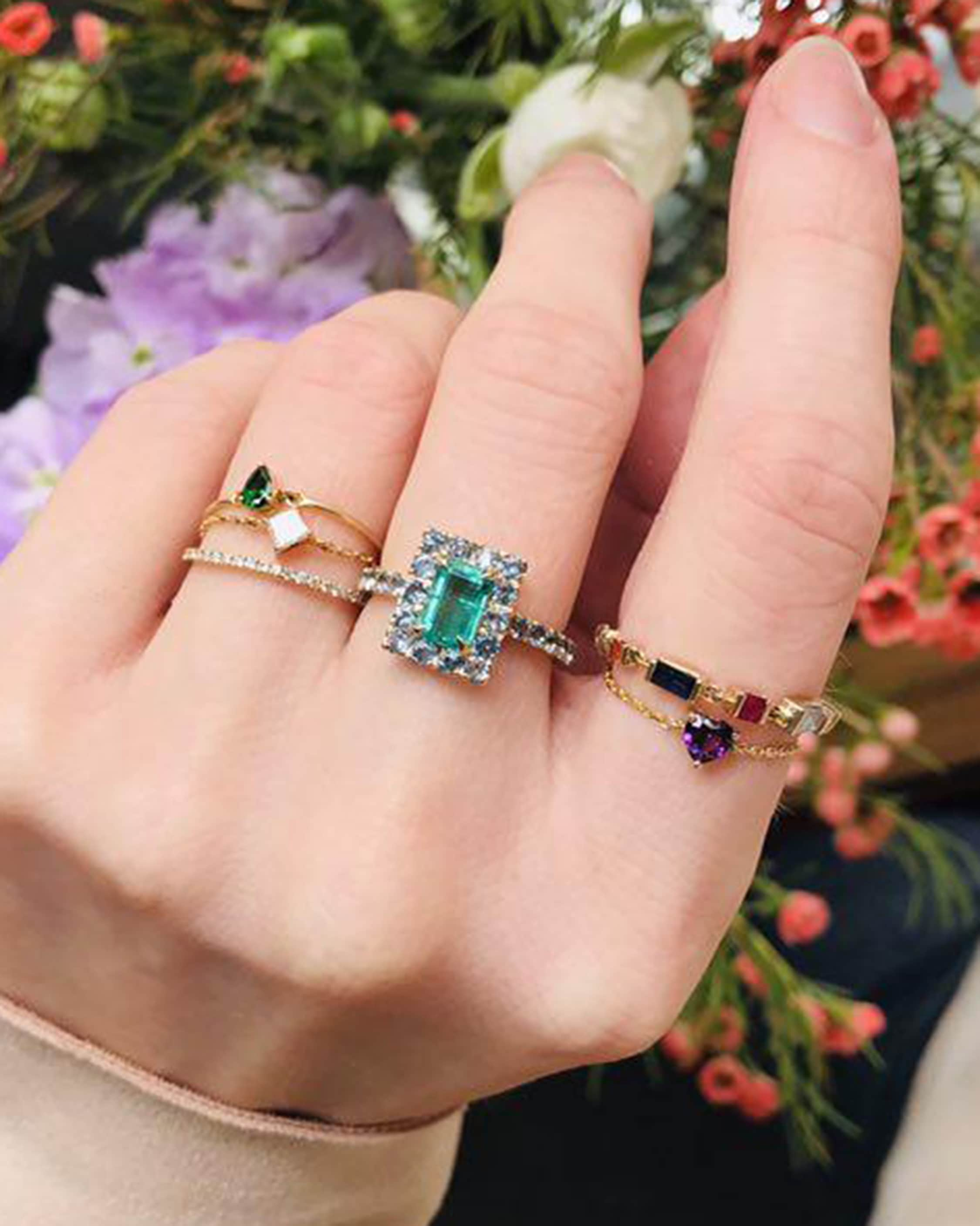 Yi Collection Emerald & Apatite Spring Ring 2