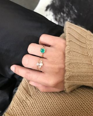 Yi Collection Emerald Classic Button Ring 2