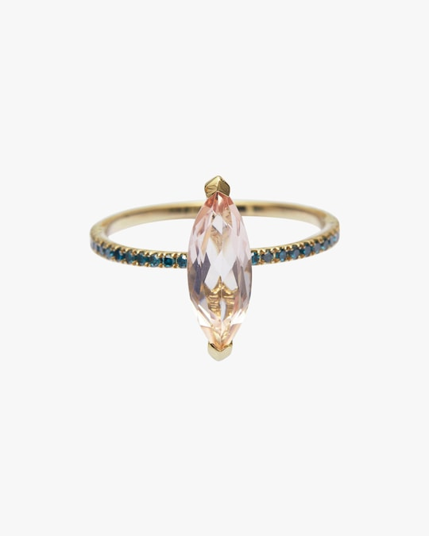 Yi Collection Morganite & Blue Diamond Charm Ring 0