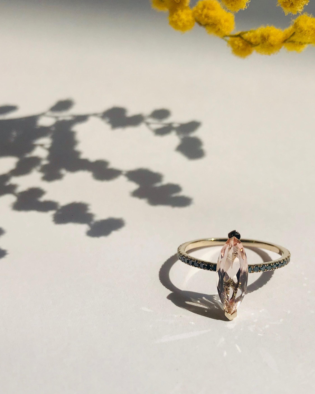 Yi Collection Morganite & Blue Diamond Charm Ring 1