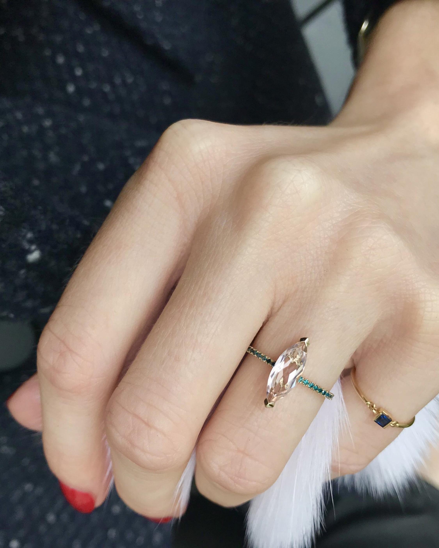 Yi Collection Morganite & Blue Diamond Charm Ring 2
