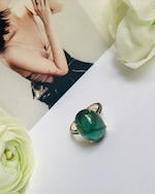 Yi Collection Tourmaline & Black Diamond Globe Ring 1