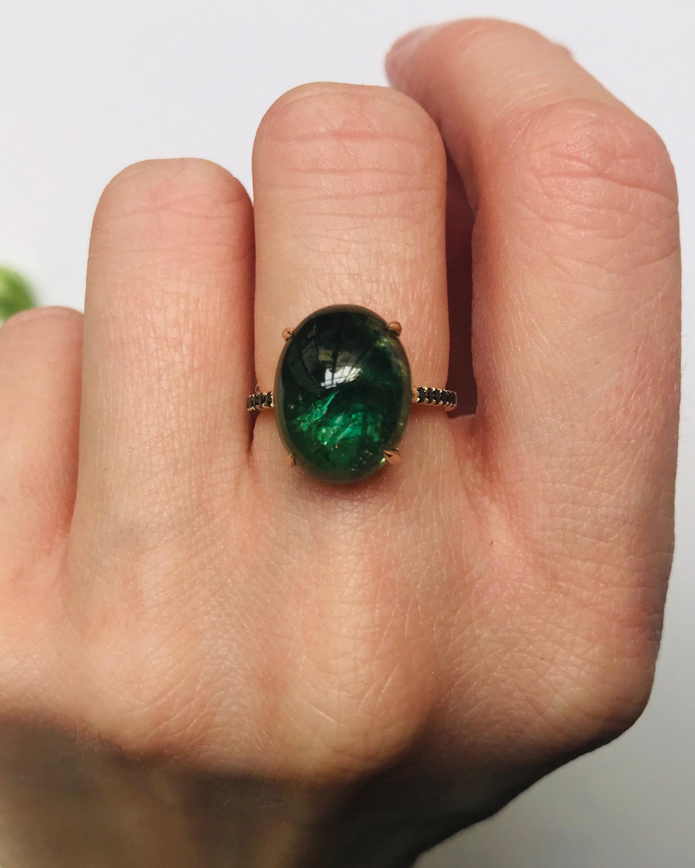 Yi Collection Tourmaline & Black Diamond Globe Ring 2