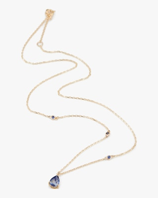 Yi Collection Cylon Sapphire Dewdrop Dot Necklace 1