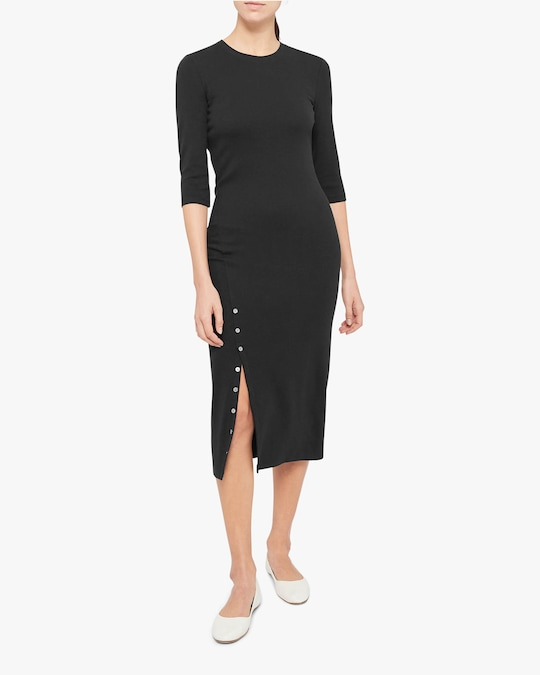 Theory Button-Front Midi Dress 0