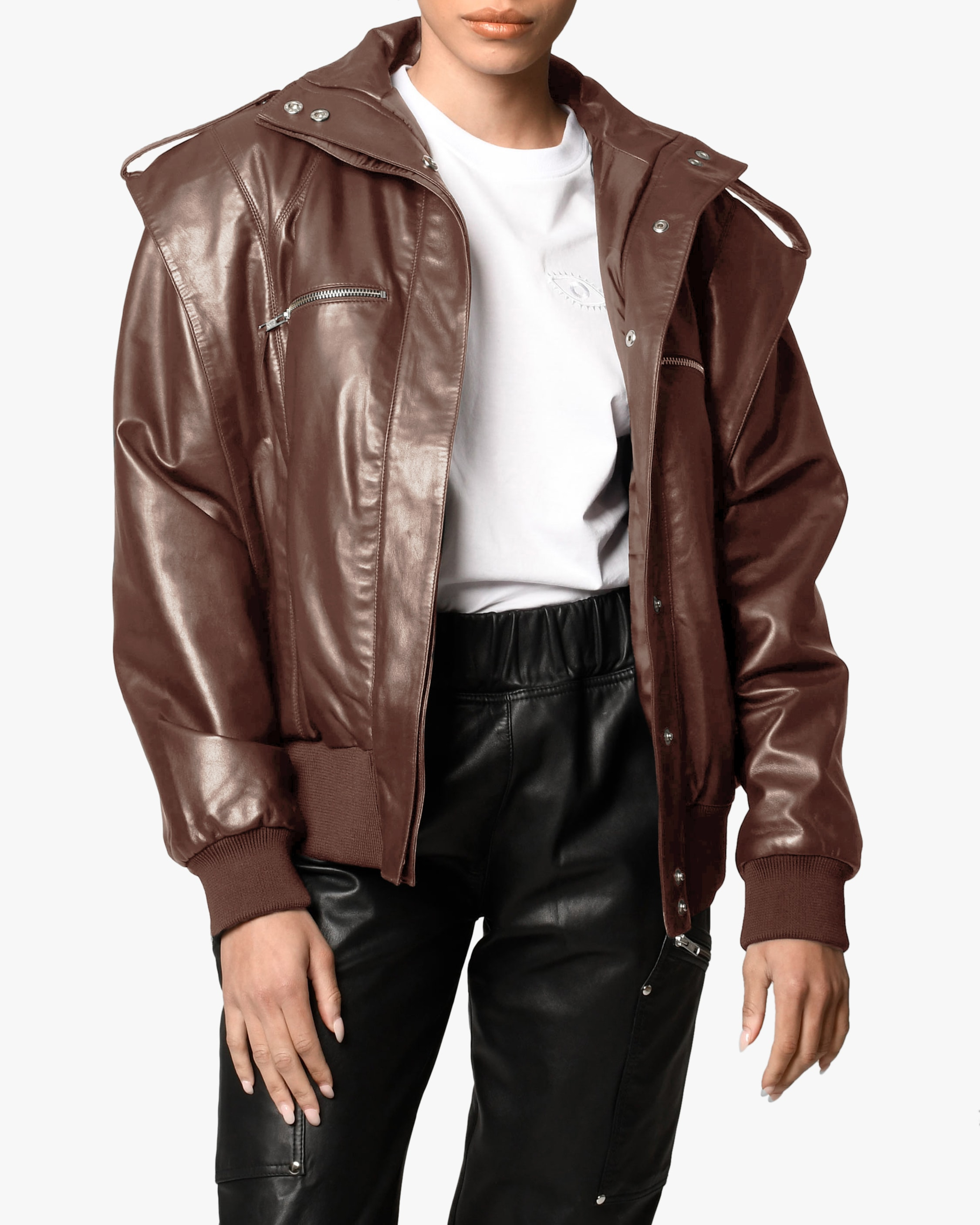 Nicole Miller Space Leather Jacket 1