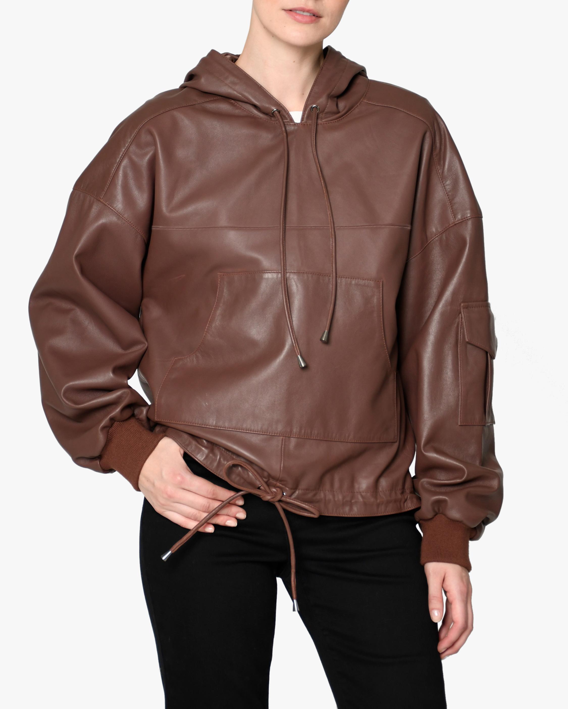 Nicole Miller Hooded Leather Anorak 1